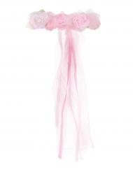 Blumenkranz mit Rosen und Bänder für Mädchen rosa
