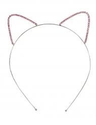Katzen-Haarreif aus Metall und Glitzer-Steinen für Mädchen silber