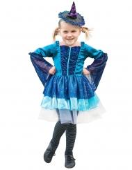 Kleine Hexe Kinderkostüm Magierin Halloween blau