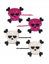 Totenschädel-Haarspangen mit Glitzer 4 Stück pink-weiss