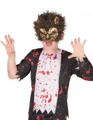 Gefährliche Werwolfmaske für Kinder Halloween braun