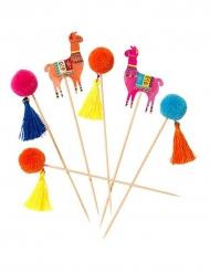 Party-Spieße mit Lamas und Pompons Tischdeko 12 teilig bunt 18cm