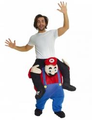 Humorvolles Huckepack-Kostüm Retro-Handwerker Morphsuits™ rot-blau