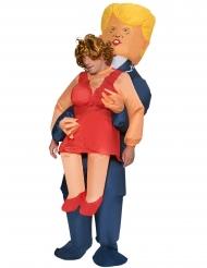 Aufblasbares Trump-Kostüm humorvolle Huckepack-Verkleidung bunt