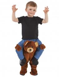 Lustiges Teddybären-Huckepack Kostüm für Kinder Carry-Me braun-blau-schwarz