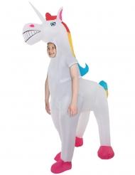Humorvolles Einhorn-Kostüm aufblasbar für Kinder bunt