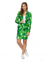 Kleeblatt-Opposuits™-Anzug für Damen grün-weiss