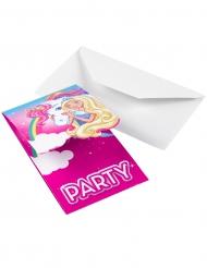 8 Einladungskarten Barbie