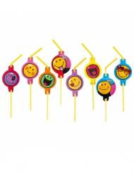 8er-Set Strohhalme mit Smileys