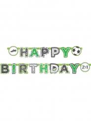 Fussball-Girlande Partydeko Happy Birthday grün-weiss 2 m