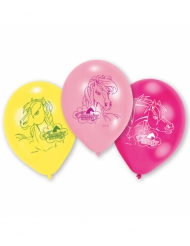 6 Latexballons mit Charming Horses-Motiven 23 cm