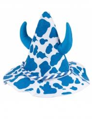 Bayern Hut für Erwachsene blau-weiss mit Hörnern