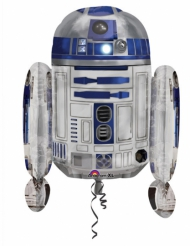 Star Wars™ R2D2-Folienballon Lizenzartikel blau-silber 55x66 cm