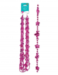 Flamingo-Hibiskus-Halskette rosa 6 Stück