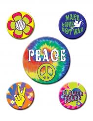 Hippie-Applikationen 5-teilig Kostümzubehör bunt 3,5 und 6cm