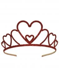 Glitzer Krone für Damen königliches-Accessoire rot