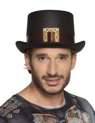 Herren-Zylinder Steampunk mit Schnalle Kostümzubehör schwarz-braun-gold