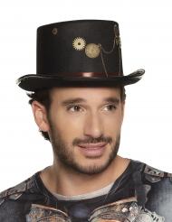 Edler Steampunk-Zylinder mit Zahnrädern und Ketten Kostümzubehör schwarz