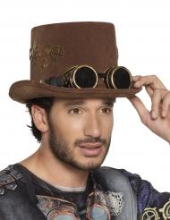 Steampunk-Zylinder mit Retro-Brille Kostümzubehör braun