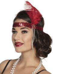 20er-Jahre Pailletten-Haarband Charleston rot