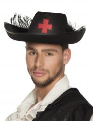Musketier-Hut für Erwachsene mit Kreuz-Applikation schwarz-rot