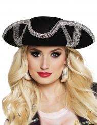 Schwarzer Piratenhut für Erwachsene mit silberner Borte