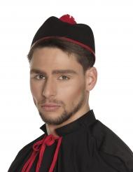 Kardinals-Mütze für Erwachsene Faschingshut Accessoire Schwarz-rot