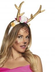 Rentier-Haarreif für Damen Geweih-Kopfbedeckung gold-bunt