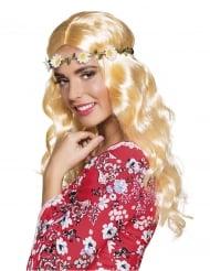 Stilvolle Hippie-Perücke mit Blumenband bunt