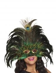 Pfauenmaske mit Federn pompöses Accessoire für Damen schwarz-grün