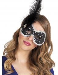 Elegante Augenmaske mit Feder und Schmuckstein schwarz-silber