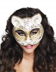 Elegante Katzen-Augenmaske weiss-schwarz-gold