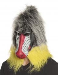 Tier Pavian-Maske Kostüm-Accessoire für Fasching grau-gelb