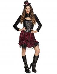 Sexy Steampunk Kostüm für Damen schwarz-weinrot