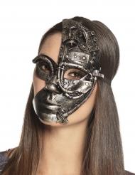 Steampunk-Maske Roboter für Damen Kostümzubehör grau