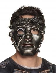 Steampunk-Maske mit Zahnrädern Kostümzubehör grau
