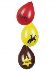 Luftballons Wilder Westen Partyzubehör 6 Stück bunt 25cm