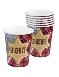 Wilder Westen-Trinkbecher mit Sheriff-Stern Mottoparty 6 Stück bunt 250 ml