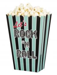 Popcorn Tüten Partyzubehör Mottoparty Rock`n`Roll 4 Stück blau-schwarz 33x23x17cm