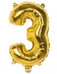 Aluminium-Folienballon Raumschmuck Zahl 3 gold 36cm