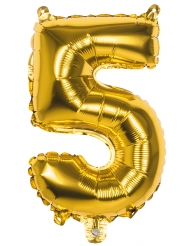 Folienballon-Raumdekoration Aluminium Zahl 5 gold 36cm