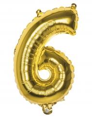 Aluminium-Folienballon Zahl 6 Raumdekoration gold 36cm
