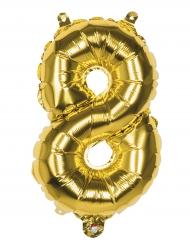 Aluminium Ballon Zahl 8 gold
