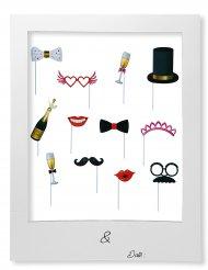 Photobooth-Kit 12-teilig bunt Partyzubehör
