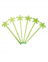 12 Palmen Cocktail-Rührstäbe grün 18 cm