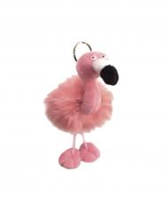 Plüschiger Flamingo Schlüsselanhänger rosa-schwarz