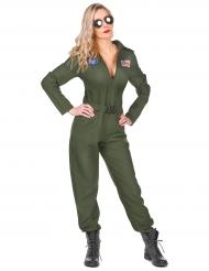 Sexy Kampfpilotin Overall für Damen Karneval khaki