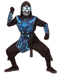 Kämpferisches Ninja-Kinderkostüm mit leuchtenden Augen und Melodie schwarz-blau