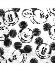 20 Micky Maus™ Servietten schwarz-weiss
