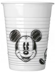 8 Plastikbecher Mickey schwarz-weiß 200 ml